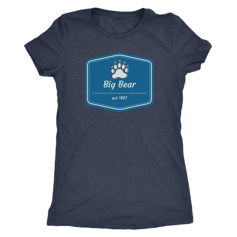 Image of Big Bear Blue Logo T-shirt Next Level Womens Triblend Vintage Navy S