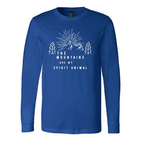 Image of Mountains Spirit T Shirt 1 T-shirt Canvas Long Sleeve Shirt Royal S