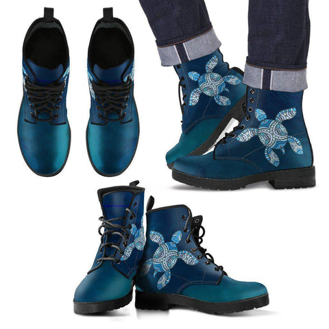 Cool Blue Tribal Turtle V.3 Ocean Swim Men's Leather Boots - Black - Men US5 (EU38)