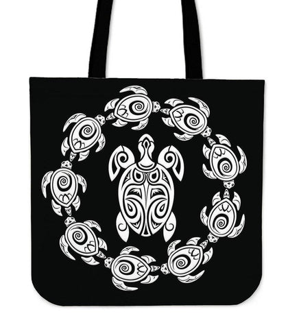 Peaceful Circle of Life Tribal Turtle Totes Tote Bag Black
