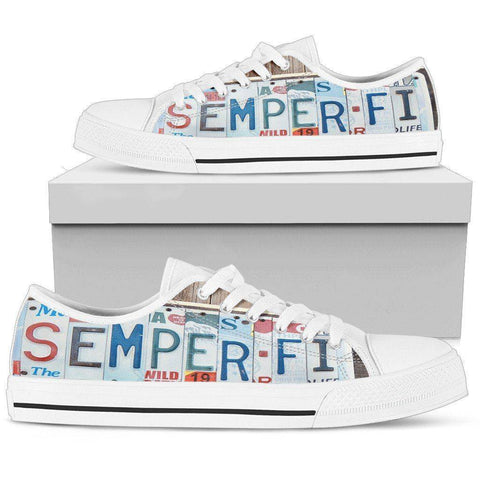 Semper Fidelis | Premium Low Top Shoes Mens Low Top - White - Mens White US5 (EU38)