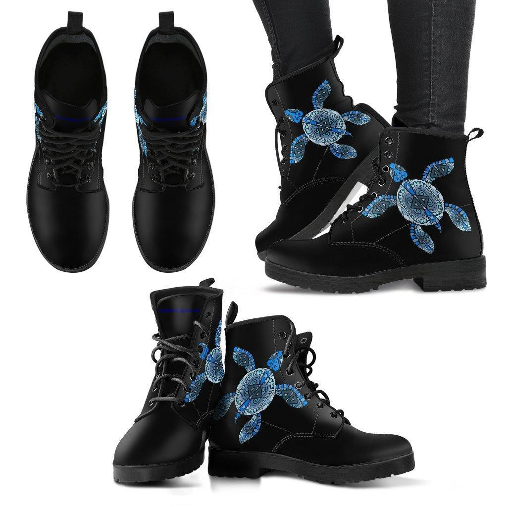 Cool Blue Turtle on Premium Eco Leather Boots Women's Leather Boots - Black - Women US5 (EU35)