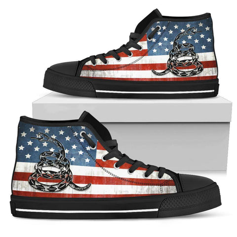 'Merica Dont Tread On Me Canvas Shoes Shoes Womens High Top - Black - Black Sole US5.5 (EU36)