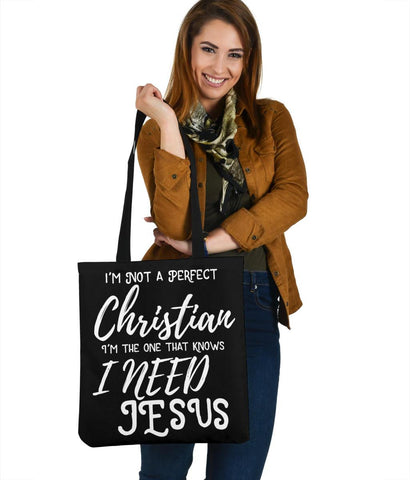 Not Perfect, I Need Jesus, Canvas Tote Tote Bag Black