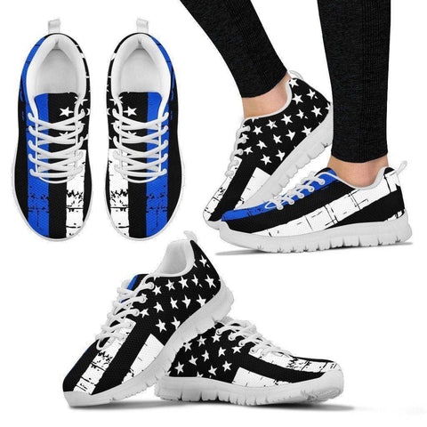 Image of Premium Thin Blue Line Sneakers Shoes Women's Sneakers - White - White Sole US5 (EU35)
