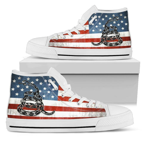'Merica Dont Tread On Me Canvas Shoes Shoes Womens High Top - White - White Sole US5.5 (EU36)