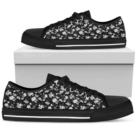 Image of Epic Canvas Shoes with Beautiful Flower Art Womens Low Top - Black - White on Black US5.5 (EU36)
