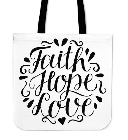 Image of Faith Hope Love Premium Totes Tote Bag White