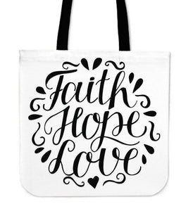 Faith Hope Love Premium Totes Tote Bag White
