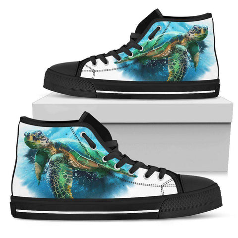 Image of Groovy Watercolor Turtle on Premium High Tops V.3 Mens High Top - Black - V.3 US5 (EU38)