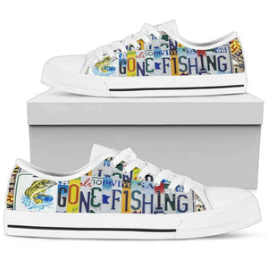 Gone Fishin' | Premium Low Top Canvas Shoes Shoes Mens Low Top - White - White US5 (EU38)