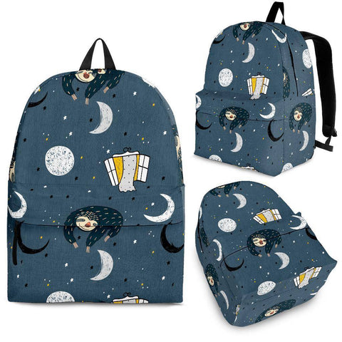 Image of Sleeping Space Sloth Backpack backpack Backpack - Black - Large Pattern Adult (Ages 13+)