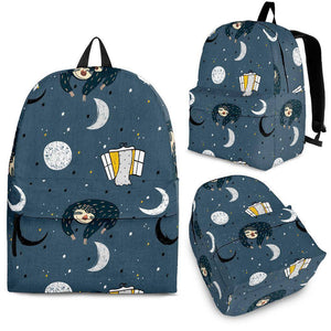 Sleeping Space Sloth Backpack backpack Backpack - Black - Large Pattern Adult (Ages 13+)