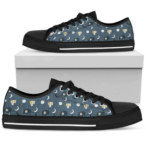 Image of Premium Sleeping Sloth Shoes | High and Low Top Available Shoes Womens Low Top - Black - WBL US5.5 (EU36)