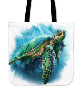 Premium Watercolor Turtles on Re-Useable Canvas Tote Tote Bag V.2