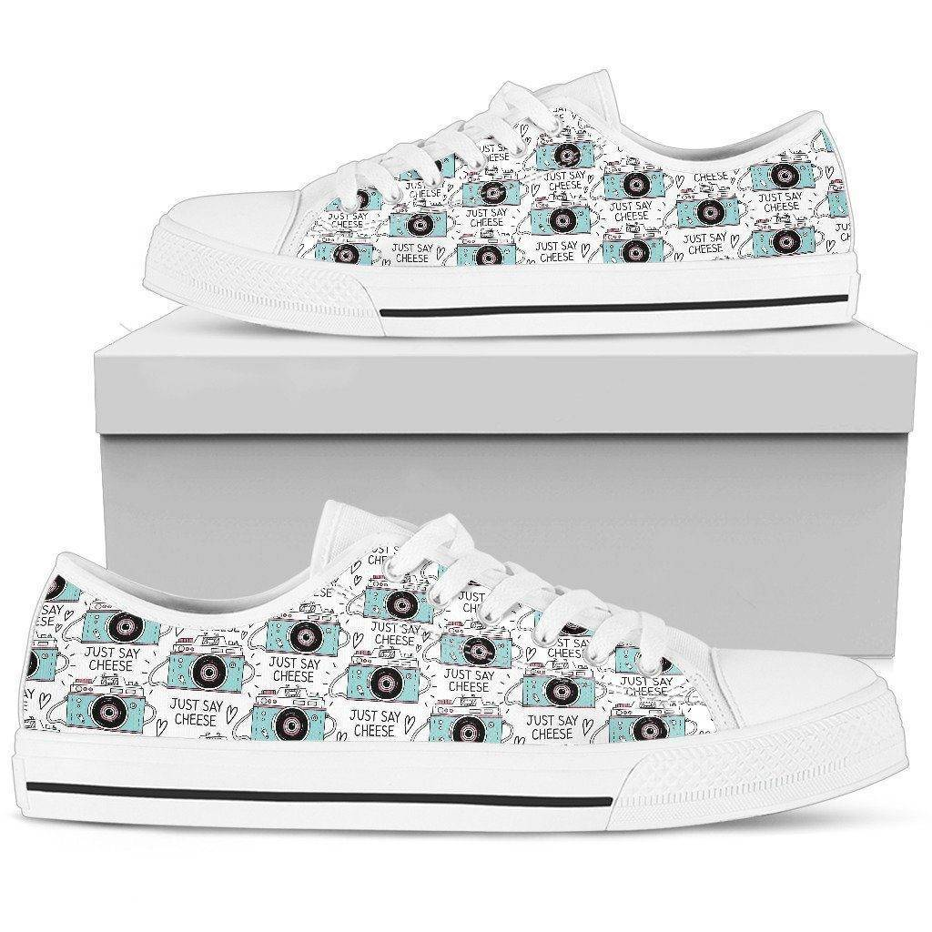 Premium Canvas Shoes, Say Cheese Womens Womens Low Top - White - Say Cheese US5.5 (EU36)