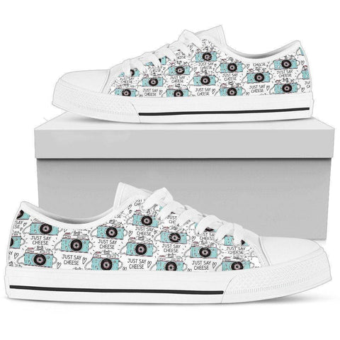 Image of Premium Canvas Shoes, Say Cheese Womens Womens Low Top - White - Say Cheese US5.5 (EU36)