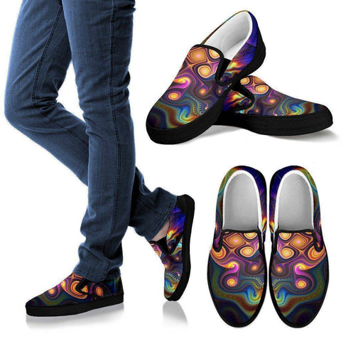 Image of Slick Fractal Slip Ons Shoes Men's Slip Ons - Black - M US8 (EU40)