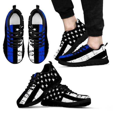 Image of Premium Thin Blue Line Sneakers Shoes Men's Sneakers - Black - Black Sole US5 (EU38)