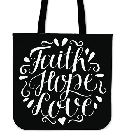 Faith Hope Love Premium Totes Tote Bag Black