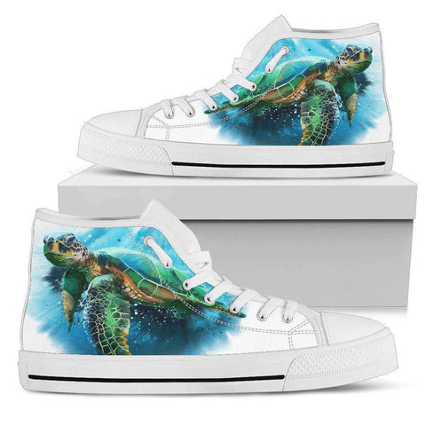 Image of Groovy Watercolor Turtle on Premium High Tops V.3 Mens High Top - White - V.3 US5 (EU38)
