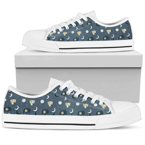Image of Premium Sleeping Sloth Shoes | High and Low Top Available Shoes Mens Low Top - White - MWL US5 (EU38)