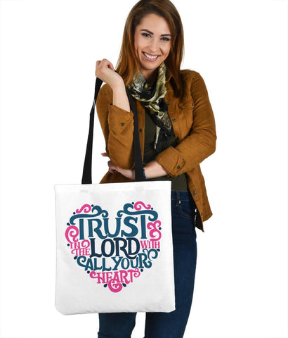 Image of Trust In The Lord, Canvas Tote Bags Tote Bag White
