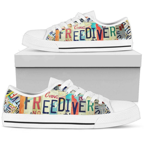 Image of Freediver License Plae Art | Premium Low Top Shoes Shoes Womens Low Top - White - White US5.5 (EU36)