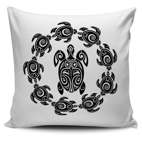 Peaceful Circle of Life Tribal Turtle Pillow Covers Pillow Case White