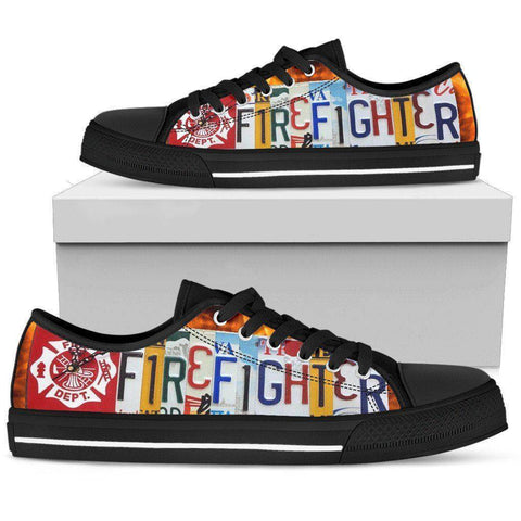 Image of Firefighter License Plate Art | Low Top Shoes Shoes Womens Low Top - Black - Black US5.5 (EU36)