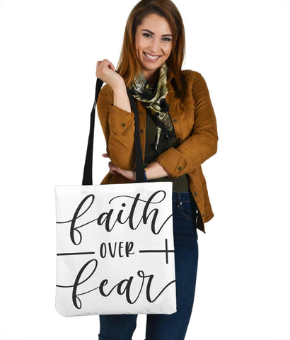 Image of Faith Over Fear Canvas Tote Tote Bag