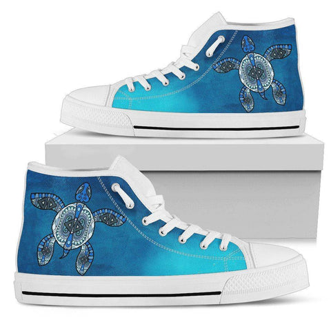 Tribal Turtle Swimming High Tops Mens High Top - White - White US5 (EU38)