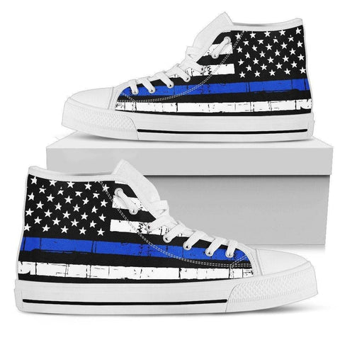Premium Canvas Highttop with Thin Blue Line Flag Mens High Top - White - White Sole US5 (EU38)