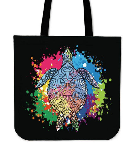 Image of Amazing Color Splash Turtle Totes Tote Bag Black