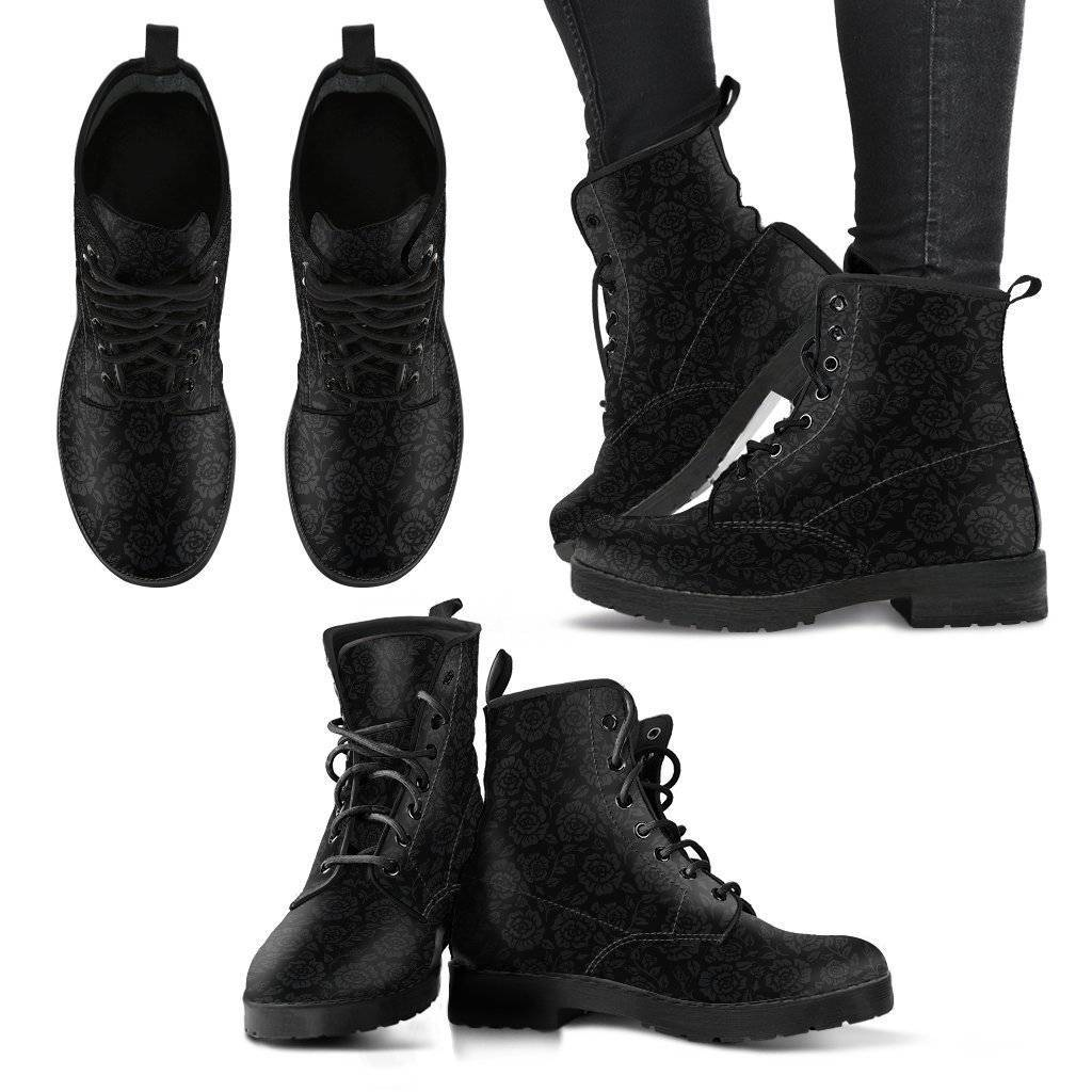 Premium Eco Leather Boots with Rose Art Women's Leather Boots - Black - Grey on Black US5 (EU35)