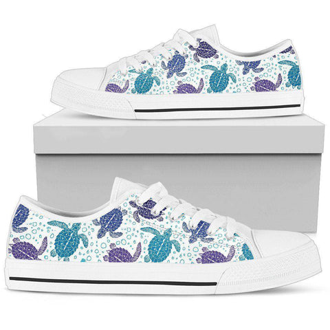 Image of Premium Canvas Shoes, Turtle V1 Womens Low Top - White - Turtle V1 US5.5 (EU36)