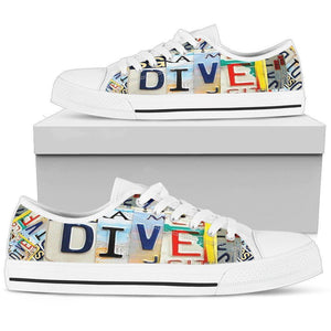 Dive License Plate Art Shoes Womens Low Top - White - White US5.5 (EU36)