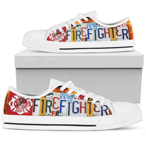 Firefighter License Plate Art | Low Top Shoes Shoes Womens Low Top - White - White US5.5 (EU36)