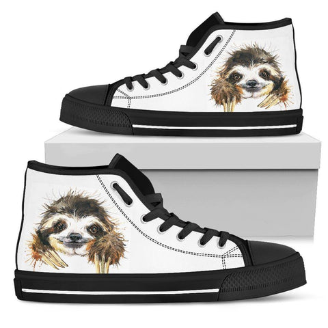 Image of Smiling Sloth on Custom Premium Canvas Hightops Womens High Top - Black - Smiley B US5.5 (EU36)