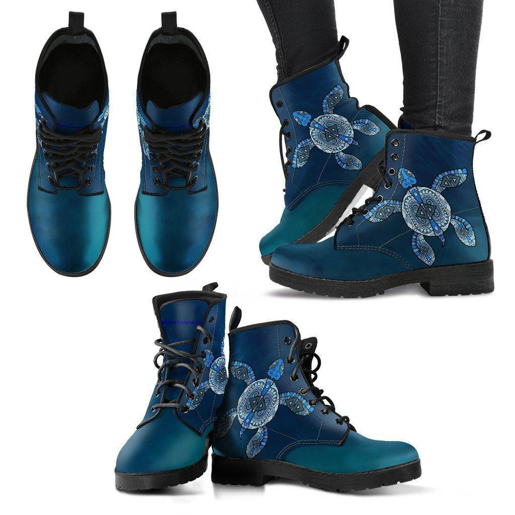 Cool Blue Tribal Turtle V.2, Ocean Swim Women's Leather Boots - Black - Women US5 (EU35)