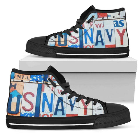 Image of US NAVY | Premium High Top Shoes Womens High Top - Black - Womens Black US5.5 (EU36)
