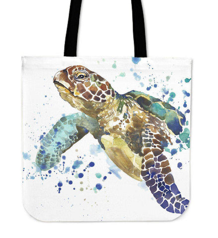 Premium Watercolor Turtles on Re-Useable Canvas Tote Tote Bag V.1