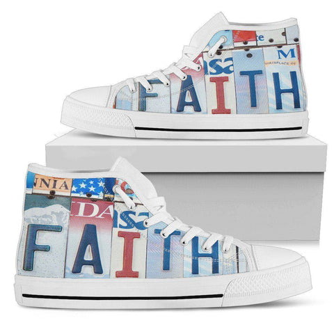Walk By Faith | Premium High Top Shoes Shoes Mens High Top - White - Mens White US5 (EU38)