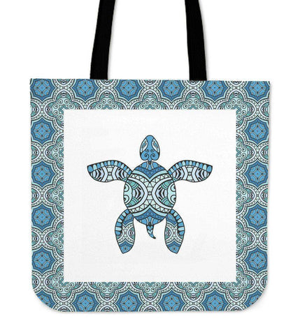Image of Cool Handrawn Tribal Turtle Art on Premium Tote Cool Tribal Turtle V.3