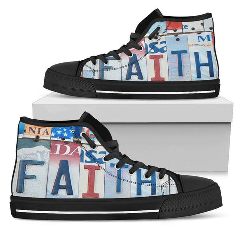 Walk By Faith | Premium High Top Shoes Shoes Womens High Top - Black - Mens Black US5.5 (EU36)