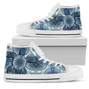Cool Blue Turtle on Premium High Tops V.1 Womens High Top - White - Large US5.5 (EU36)