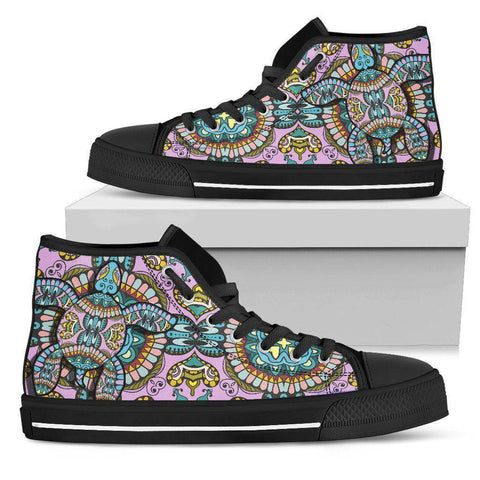 Image of Cool Pink Tribal Turtle High Tops Womens High Top - Black - Large Pink US5.5 (EU36)