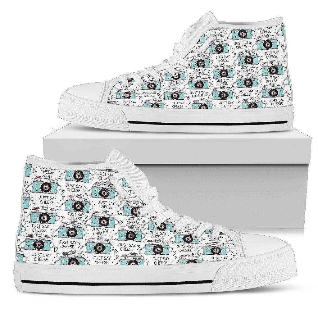 Premium Canvas Shoes, Say Cheese Womens Womens High Top - White - Say Cheese US5.5 (EU36)