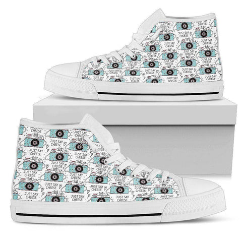 Image of Premium Canvas Shoes, Say Cheese Womens Womens High Top - White - Say Cheese US5.5 (EU36)