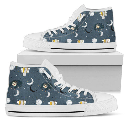 Image of Premium Sleeping Sloth Shoes | High and Low Top Available Shoes Mens High Top - White - MWH US5 (EU38)